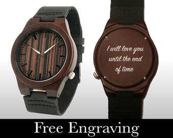 Engraved Watch, Wood Watch, Engraved Wood Watch, Dark Wood, Wooden Watch, Personalized Gift, Gifts For Him, Groomsmen