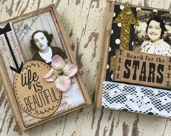 Altered Journal, Primitive Journal, Mini Journal, Stars, Beautiful, Life, vintage photo, gift, Mixed Media, Altered Book, Notebook, Altered