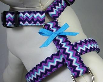 Dog Harness - Purple Chevron