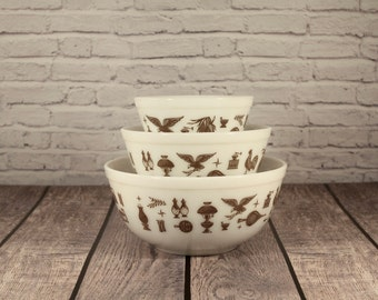 Vintage Pyrex - Early American - Set of 3 Nesting Mixing Bowls - 401, 402, 403