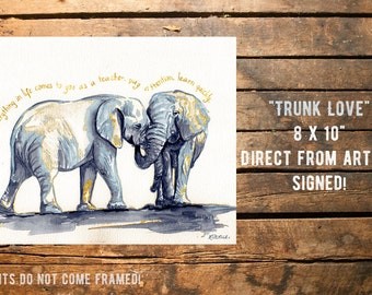 Fine art Print from original watercolor by Redstreake, elephant love  2 sizes