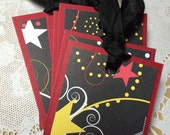 RESERVED for Lisa Stars Petite Gift Tags Set of Eight Lunchbox Love Notes Superstar Black Red Unisex Birthday Party Favors Shooting Star
