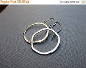 30% OFF SALE Silver Circle Earrings Argentium Sterling Silver Hammered Dangle Earring Modern Classic Freeform circles