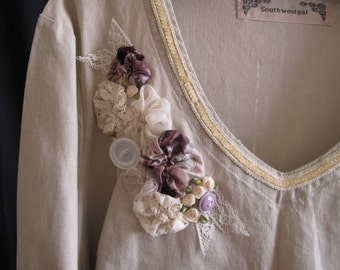 Upcycled Plus Size Altered Couture Beige Top Blouse Size 2X Upstyled Roses Repurposed Wearable Art