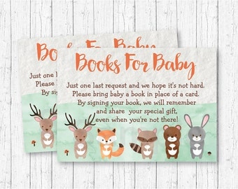 Cute Woodland Animal Book Request Cards / Woodland Baby Shower / Watercolor / Books For Baby / Gender Neutral / INSTANT DOWNLOAD A156