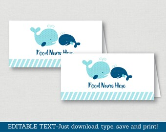 Cute Whale Food Tent Cards / Buffet Cards / Place Cards / Whale Baby Shower / Nautical Baby Shower / INSTANT DOWNLOAD Editable PDF A160