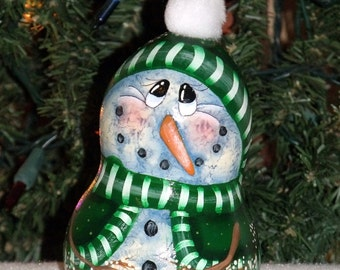 Hand Painted - Original Designed - Snowman Gourd/Ornament - Christmas Snowman - Christmas Decor - Gourds - Snowman - Tree Decor - Folk Art