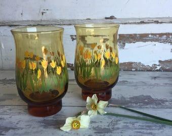 Vintage Libbey Tulip Glasses - Set of 2 - Amber Yellow Flower Juice Glasses