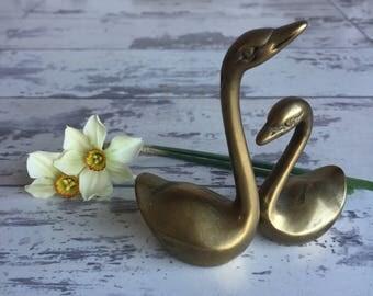 Vintage Brass Swans - Pair Figurines