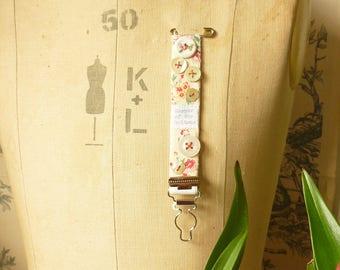 BROOCH Textile - vintage suspender/garter - Keeper of the buttons
