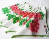 Vintage Dinner Napkins Vera Neumann Floral Geranium Pink Set of Eight