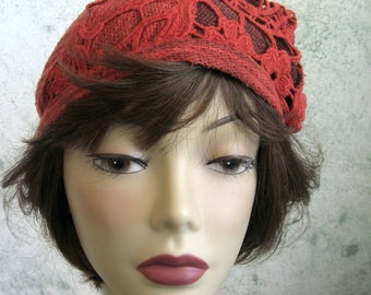 Womens Cloche Rust Colored Knit Fabric With Victorian Style Lace Trim Bad Hair Day Cap Chemo Hair Loss Teen Cap Head Sz 21- 23