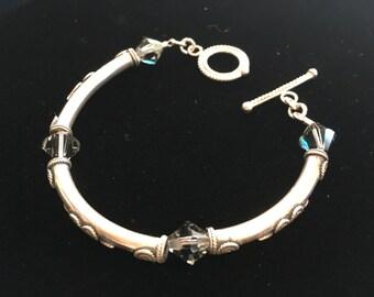 Black Diamond Swarovski Crystal Sterling Silver Tube Bracelet
