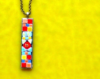 Necklace. Mosaic Necklace. Pendant. Mosaic Pendant. 24 inch Chain.  Antique Brass. Red Turquoise Gold Narrow Necklace. Narrow Pendant. Beads