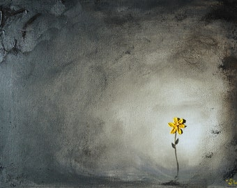 Shine Your Light, Original Oil Painting, 9x12, texture, yellow flower