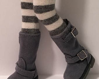 Charcoal Gray and Ivory Striped Tall Socks For Blythe...