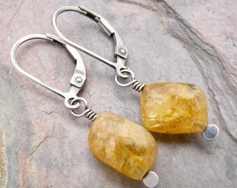 Yellow Beryl Earrings, Sterling Silver Heliodor Earrings, Golden Yellow Dangle with Lever Back Ear Wires, Simple Earrings,  #4742