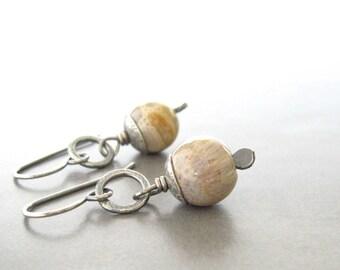 fossilized coral earrings, rustic earrings, metalwork earrings, boho drop earrings, beige coral earrings, silver earrings
