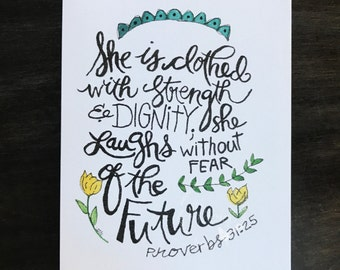 Proverbs 31 note card / She is clothed with Strength and Dignity / watercolor and ink / single folded card / blank inside / Kraft envelope
