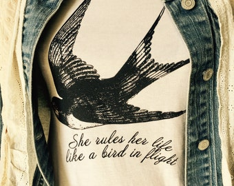 Stevie Nicks ~ Fleetwood Mac ~ Rhiannon t shirt  ~ stevie nicks style ~ super soft 100% cotton ~ she rules her life like a bird in flight