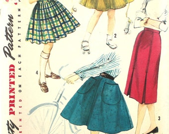 UNCUT Girl's 1950's Skirt Size 8 Simplicity 1783 Vintage Sewing Pattern