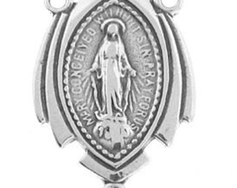 Sterling Silver Rosary Center Miraculous Medal
