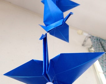 "5 Dangling Mobile - Ultramarine, folded from 7"" (17.8 cm) Solid Origami, Crane Mobile, Home Decor, Nursery Mobile, Cool, Nursery Decor"