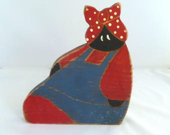 """Mammy Doll, wooden cutout, 6""""x6""""x3/4"""", red headscarf, blue pinafore, home decor, collectible, black doll, African American, red blue black"""