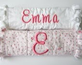 Embroidered Burp Cloth, Baby Girl Personalized Gift, Burp Cloth Set, Monogram Burp Clothes, Pink White, Shabby Cottage Chic