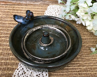 Ring Holder- Love Birds - Ring Dish - Rustic Home Decor- Wedding Ring Holder- Stoneware Jewelry Dish - Vintage Look - Ready to Ship