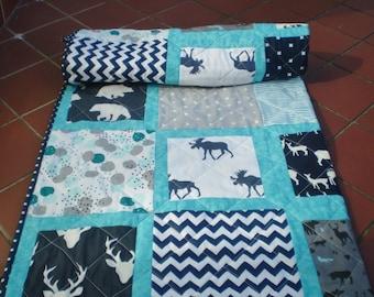 Crib quilt,baby quilt,modern,toddler bedding,rustic,woodland blanket,grey,navy,teal,aqua,deer,stag,bear,moose,baby boy quilt,Rustic Windows