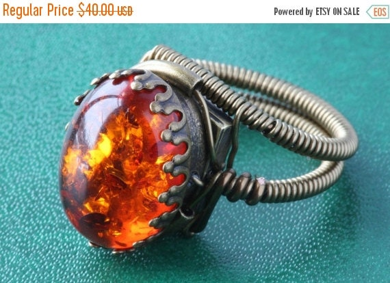 CYBER WEEK SALE - Steampunk Jewelry - Ring - Lab created Amber - 18x13mm