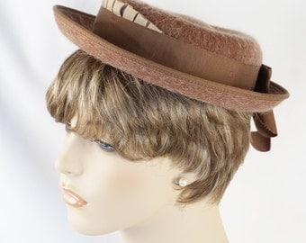 Vintage 1950s Hat Taupe Mohair Breton Sz 21