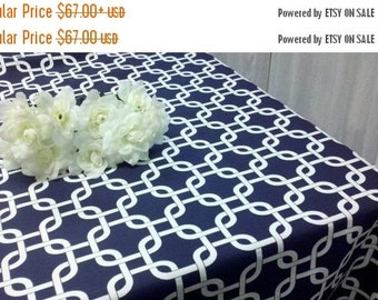60 x 102 Rectangle Polyester Navy Blue Tablecloth - Smarty Had A Party