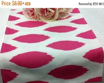 ON SALE NOW Sample Sale Runner candy pink fuchsia on white Ikat look  Table runner