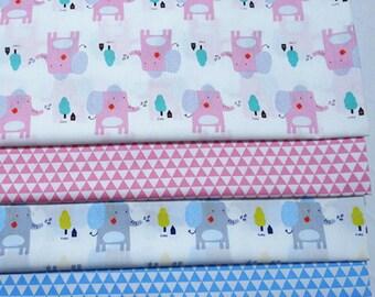 4558 - Elephant & Triangle Twill Cotton Fabric - 62 Inch (Width) x 1/2 Yard (Length)