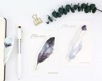SET of 3pcs - Feather Sticky Note, Memo Pad, Scrapbooking Journaling Spot