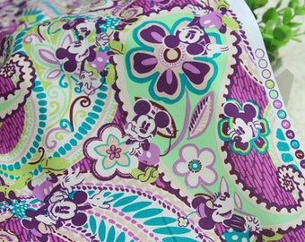 4419 - Mickey & Minnie Paisley Floral Cotton Fabric - 59 Inch (Width) x 1/2 Yard (Length)