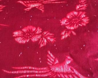 Hibiscus Red Vintage Hawaiian Island Style Traditional Aloha Red flutter sleeve Maxi Muu Muu