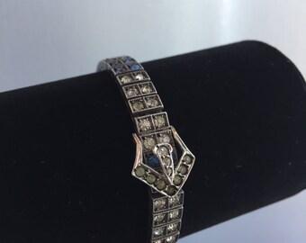 Antique Vintage 1920s Harry Wachenheimer Art Deco Diamonbar Crystal Sterling Silver Buckle Bracelet Christmas New Year's Holiday Party