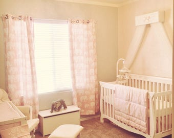 Girls CriB nursery baby bedroom Bed Canopy Pink IvOrY JoJo Crown Tiara Princess FREE WhItE Curtains SHIPPING Teester So Zoey Boutique SALE