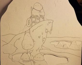 "Original graphite drawing - 8x8"" - ""Iceberg Party"""