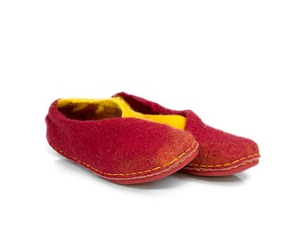 The envelope slippers - Felt natural wool handmade slippers - red yellow - felted slippers - womens slippers
