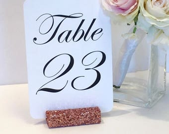 Rose Gold Glitter Table Card Holders