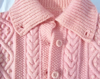 Vintage Cable Knit Wool Cardigan Sweater Hand Dyed Pink