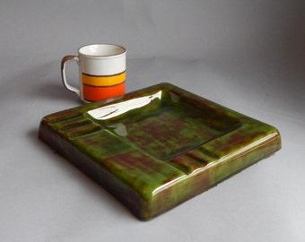 Mid Century Large Ceramic Green Ashtray