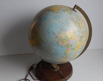 1960s Illuminated Replogle Comprehensive Globe 12 Inch