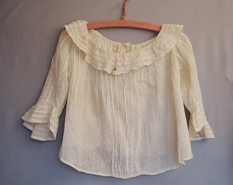 Antique Edwardian Blouse, Striped Ivory fits 30 inch bust AS-IS, Nice details - covered buttons, pleats