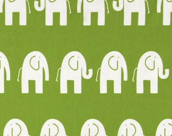 Premier Prints Ele Chartreuse Elephants White - Fabric by the Yard - Nursery Fabric Green Fabric