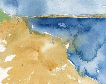 SALE Water at PEI National Park, Original Watercolour Painting, 8 x 11 inches, Ocean, Beach